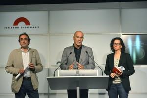 Josep Rull, Raül Romeva y Marta Rovira, este martes en el Parlament.