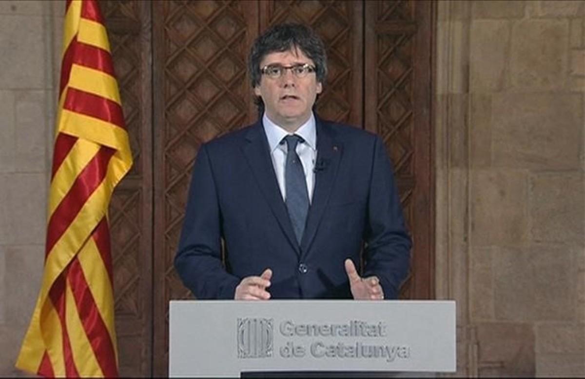 El 'president' Carles Puigdemont, el lunes en el Palau de la Generalitat.