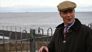 El líder del Partido del Brexit, Nigel Farage, en una visita a Hartlepooleste lunes.
