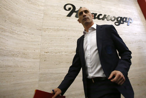 Spanish football president Luis Rubiales leaves a press conference at the 2018 soccer World Cup in Krasnodar, Russia, Wednesday, June 13, 2018. The Spanish soccer federation has fired coach Julen Lopetegui two days before the countrys opening World Cup match against Portugal. Lopetegui was let go a day after Real Madrid announced him as its new coach following the World Cup. (AP Photo/Manu Fernandez)