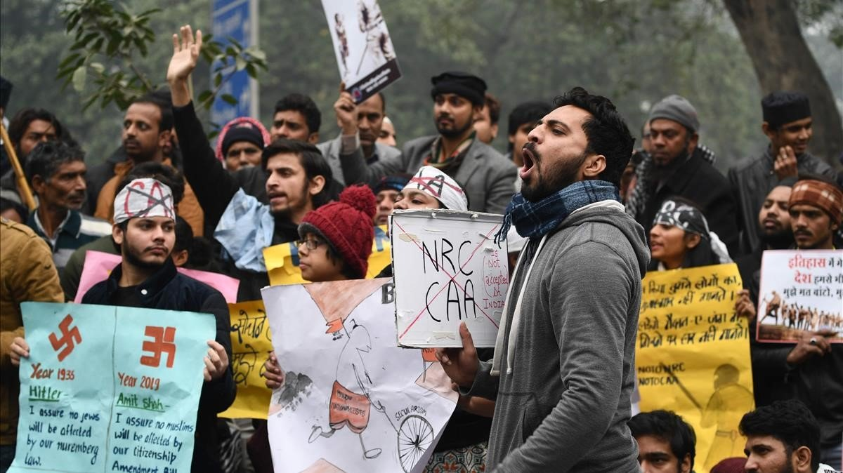 Manifestación contra la ley de ciudadanía, este jueves en Nueva Deli.