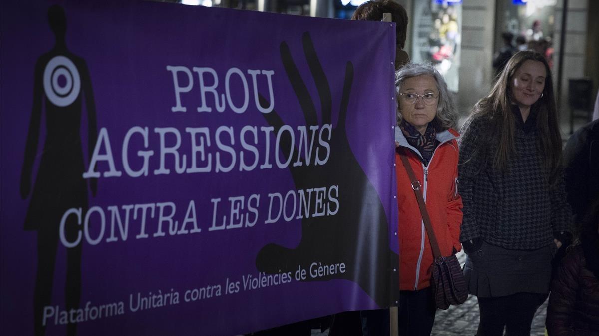 Manifestación contra la violencia machista en Barcelona, en febrero del 2016.