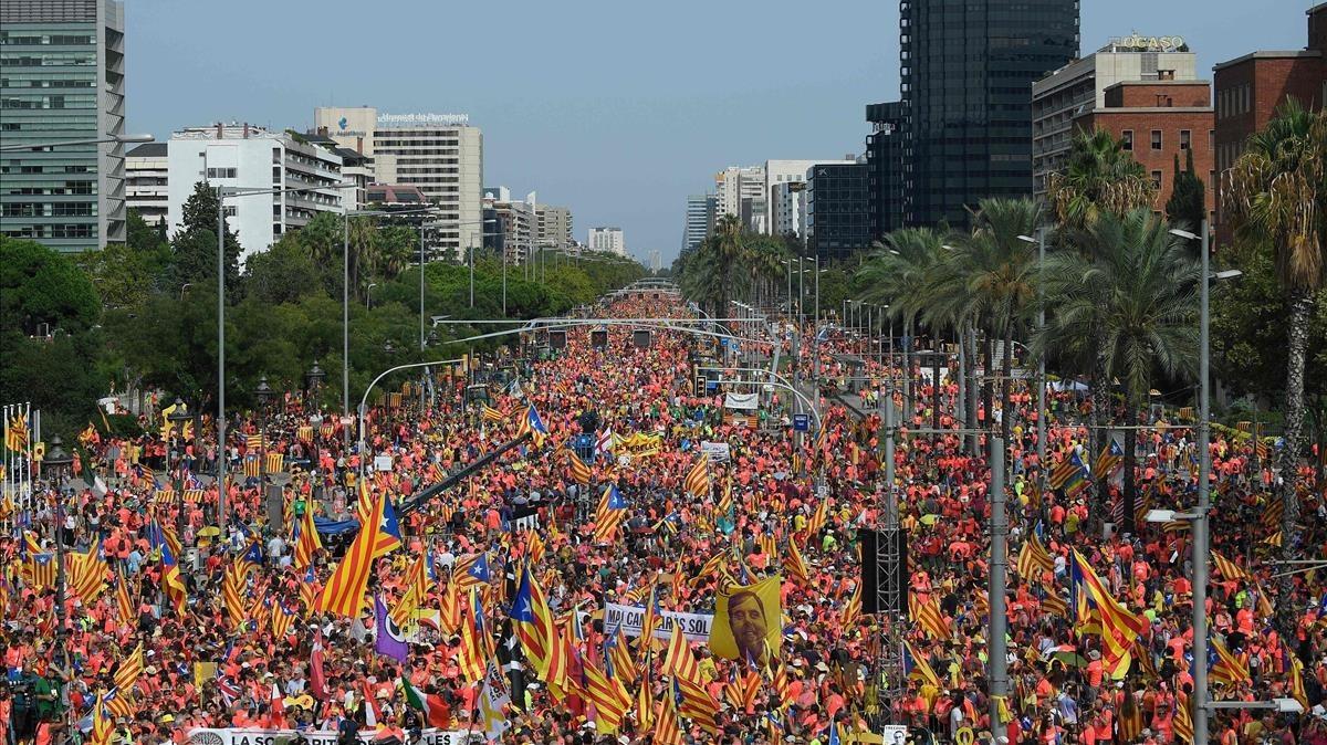 Manifestación por la independencia en la Diagonal