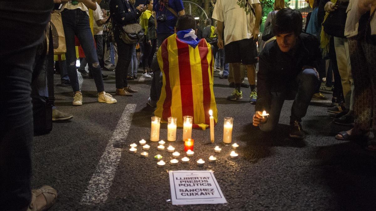 Manifestantes en la Diagonal de Barcelona.