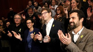 Marta Rovira, Roger Torrent, Carles Mundó y Joan Tardà, en Blanes.