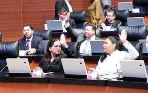 Senadores de México en la votación del acuerdo comercial T-MEC.