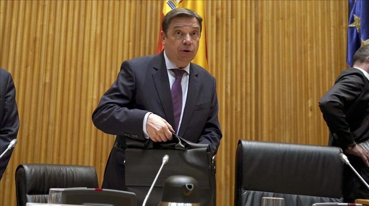 El ministro de Agricultura, Pesca y Alimentación, Luis Planas, durante su comparecencia en el Congreso.