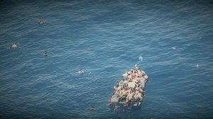 Naufragio de una patera frente a las costas de Libia este jueves, en una fotografía facilitada por Sea Watch.