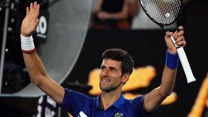Djokovic festejando el triunfo.