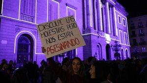 Acto contra la violencia machista en Barcelona.