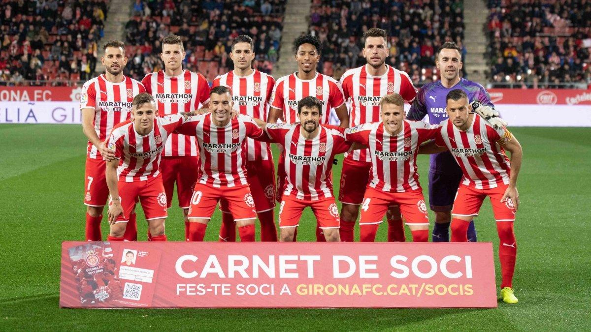 El once inicial del Girona contra el Mirandés.