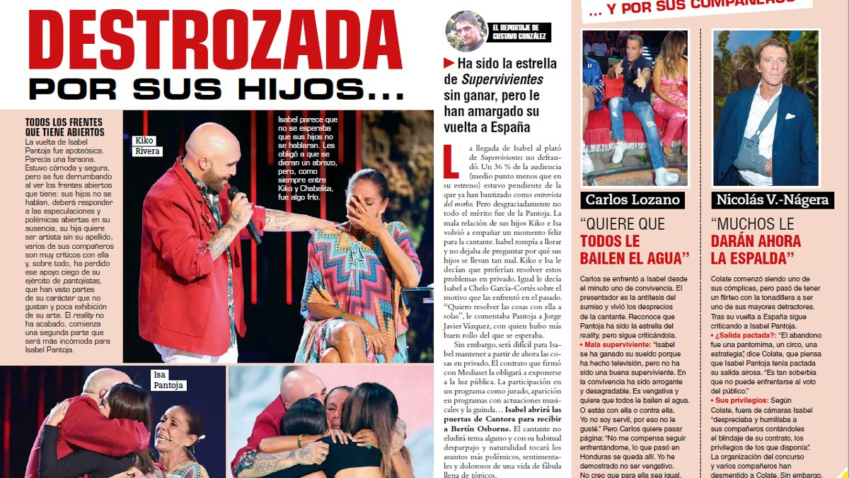 Detalle del reportaje que la revista 'Cuore' dedica esta semana a Isabel Pantoja.