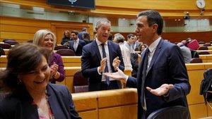Pedro Sánchez acelera, junto a Carmen Calvo, y es aplaudido por el PSOE en el Senado.