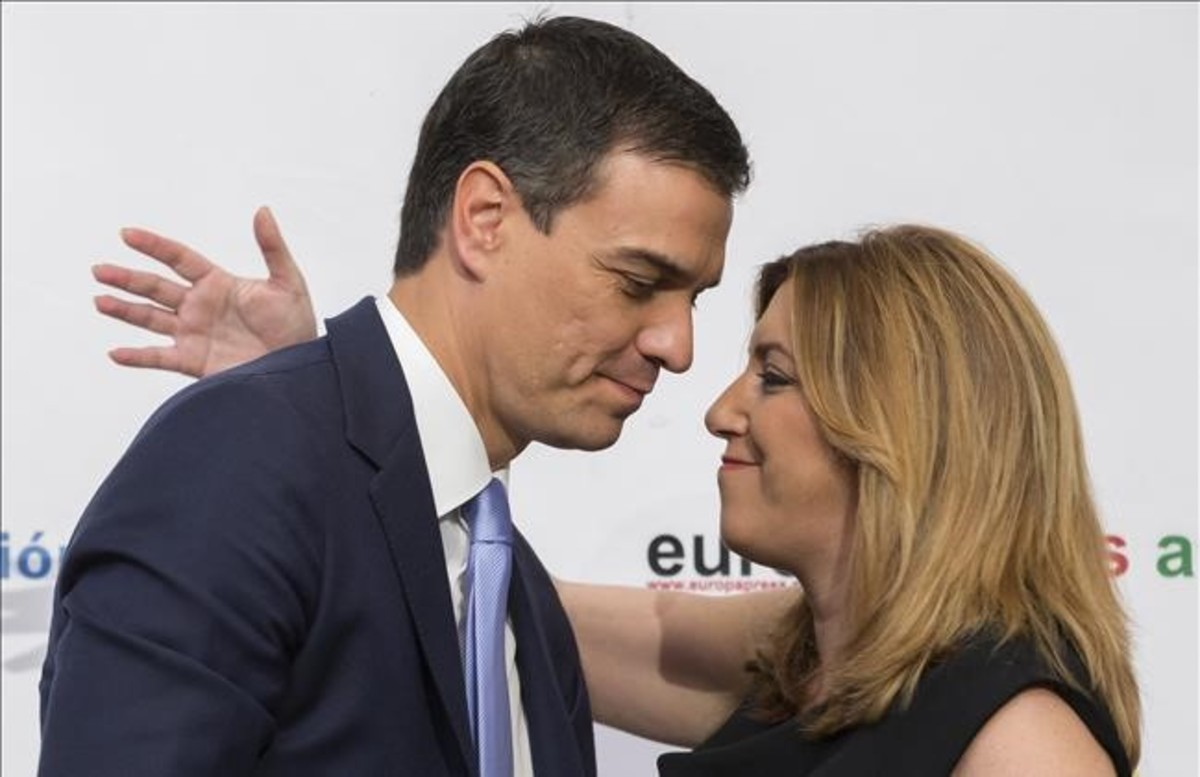 El secretario general del PSOE, Pedro Sánchez, y la presidenta de la Junta de Andalucía, Susana Díaz.