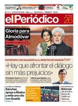 La portada de EL PERIÓDICO del 26 de enero del 2020.