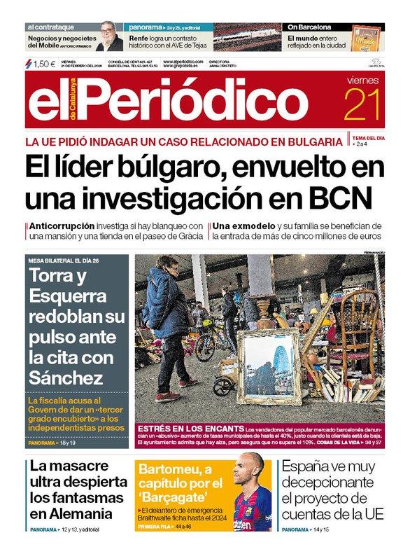 La portada de EL PERIÓDICO del 21 de febrero del 2020.