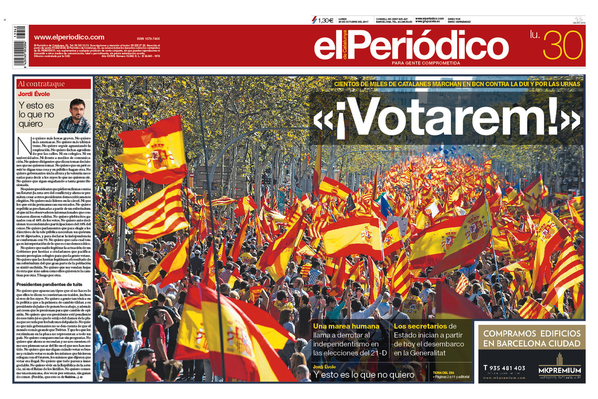 La portada de EL PERIÓDICO del 30 de octubre del 2017