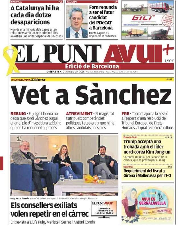 El veto del Supremo a Sànchez protagoniza las primeras páginas