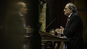El 'president' Torra, hoy en el Parlament.