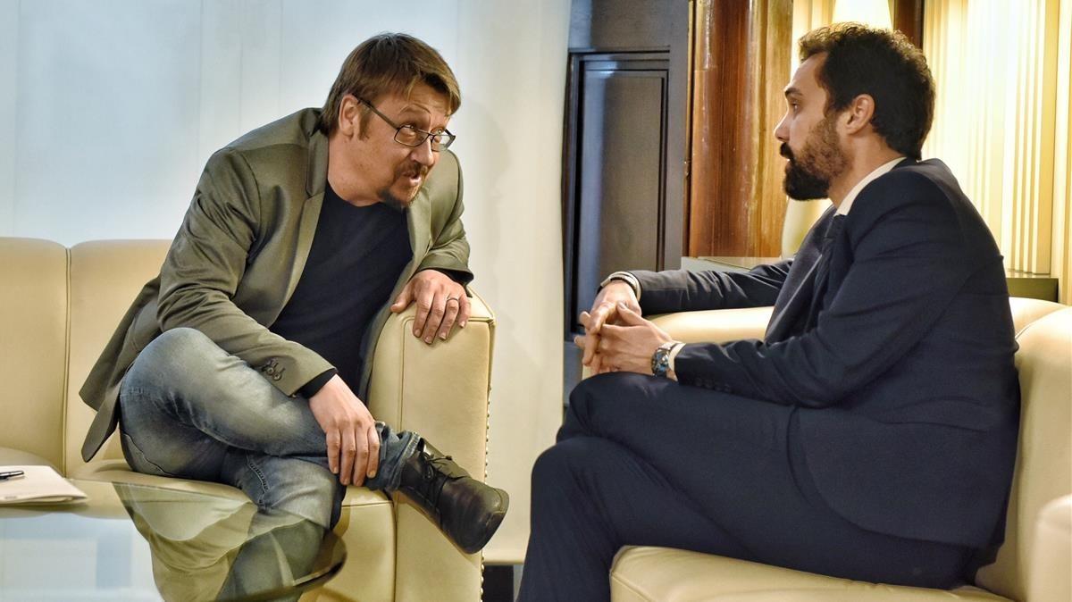 El presidente del Parlament, Ferran Torrent, reunido con Xavier Domènech.