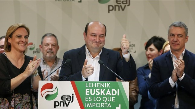 El presidente del PNV, Andoni Ortuzar, en una imagen del 2015, junto al lendakari, Íñigo Urkullu.