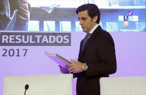 El presidente de Telefónica, José María Álvarez-Pallete, ayer, durante la presentación de resultados.