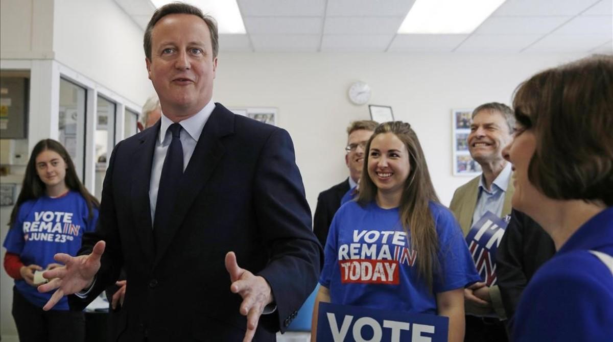El primer ministro británico, David Cameron, en un acto de campaña en defensa del Remain.