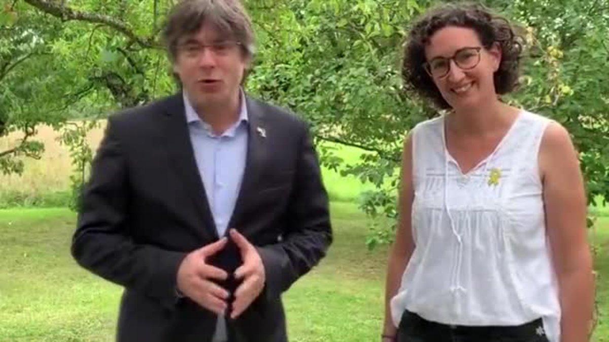 El expresidente de la Generalitat Carles Puigdemont y la secretaria general de ERC, Marta Rovira, llaman a combatir la represión del Estado desde la unidad del independentismo en la Diada del próximo 11 de septiembre.