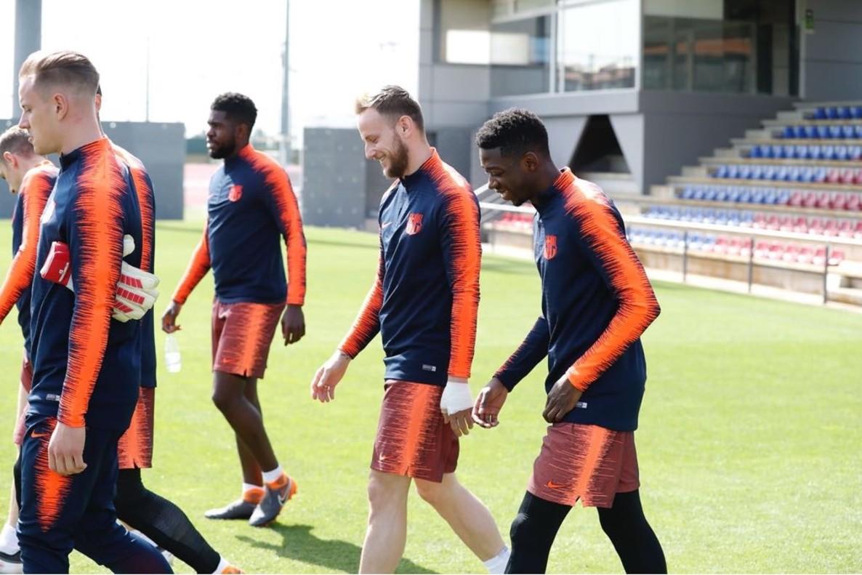Ter Stegen, Umtiti, Rakitic y Dembelé, este jueves en el entrenamiento del Barça.