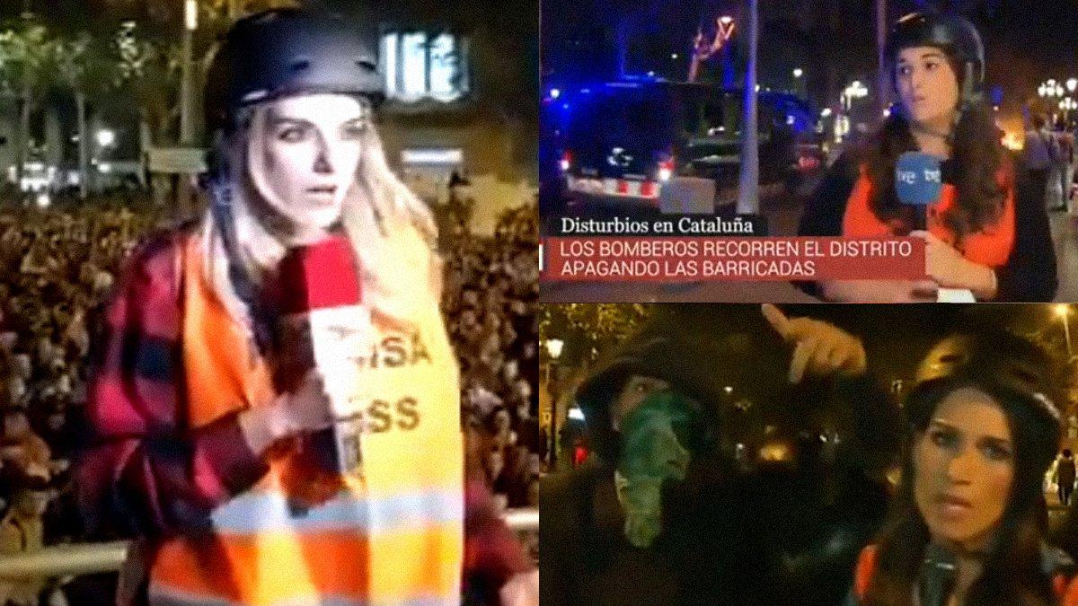 Lanzamiento de objetos y boicot a periodistas durante las protestas en Barcelona