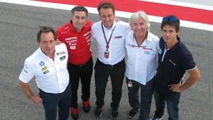 Sito Pons,Jorge Martínez Aspar,Emilio Alzamora,Ángel Nieto y Alex Crivillé, en un encuentro de excampeones del mundo enel 2014.