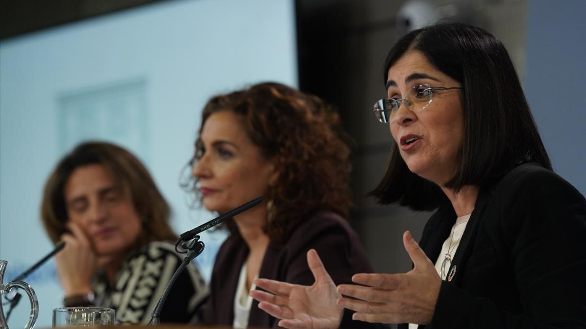 La ministra de Política Territorial y Función Pública, Carolina Darias, en rueda de prensa tras un Consejo de Ministros.