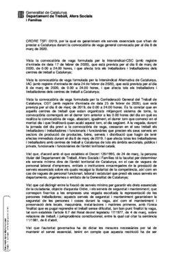 Edicto de la Generalitat que fija los servicios mínimos en Catalunya ante la huelga convocada el 8 de marzo.