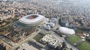 Simulación informática de una vista aérea del proyecto acutal delEspai Barça.