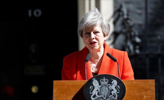 Theresa May, en la comparecencia en la que ha anunciado que deja su cargo el 7 de junio.