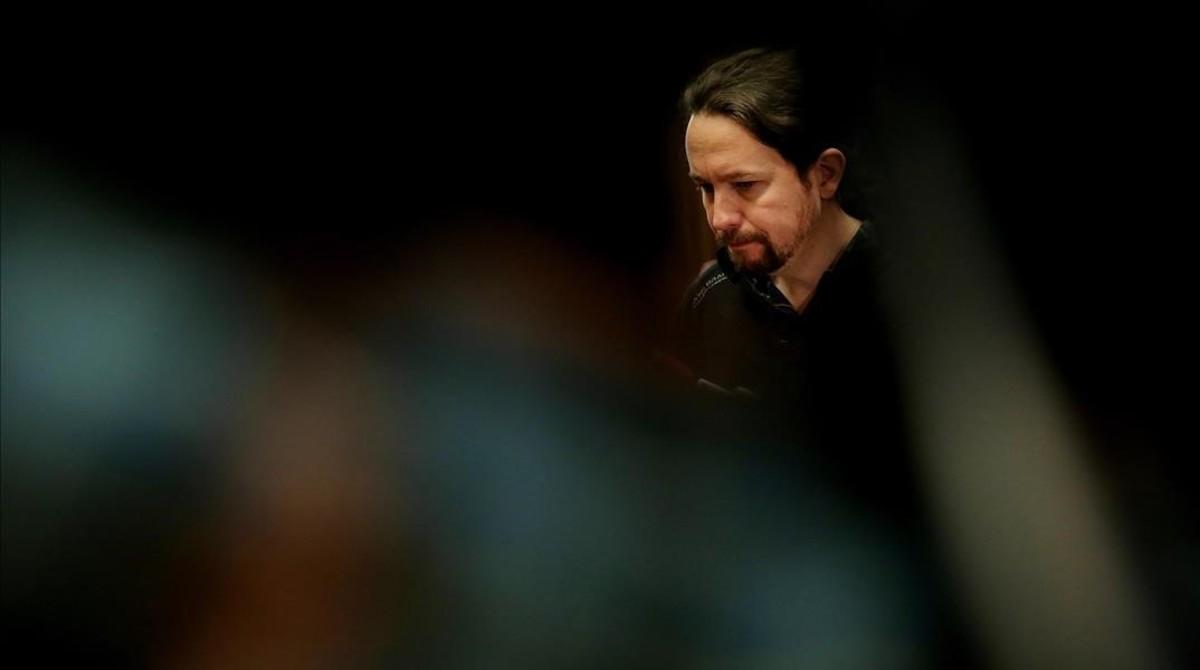 Pablo Iglesias durante una rueda de prensa en el Congreso de los Diputados.