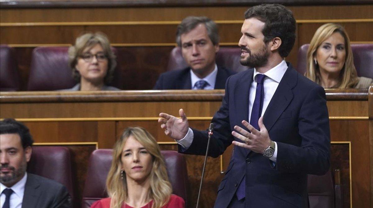 Pablo Casado, este miércoles, en el hemiciclo del Congreso de los Diputados.