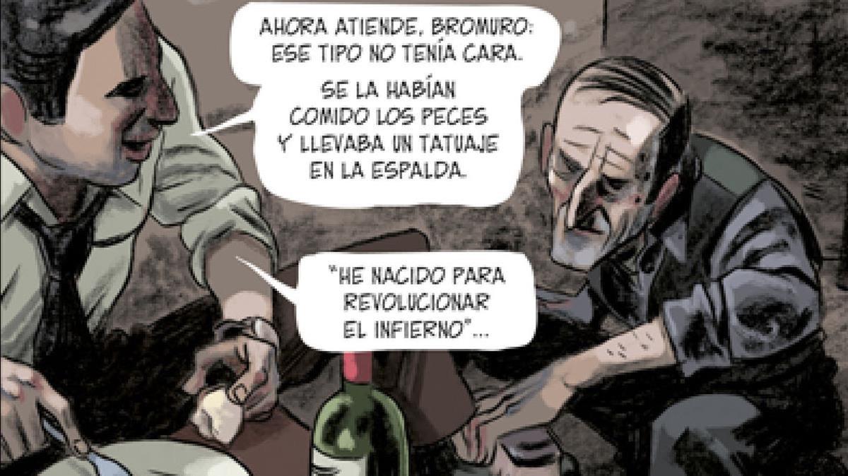 Viñeta de la adaptación al cómic de Tatuaje, primera novela de Vázquez Montalbán con Carvalho de protagonista. Aquí, con el personaje de Bromuro.