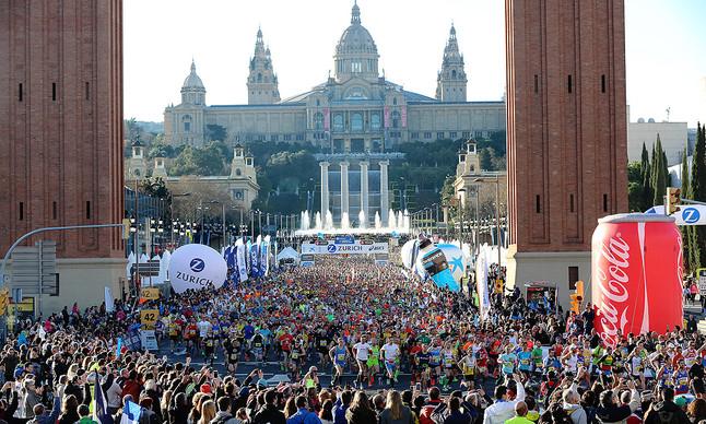 Vista del Maratón de Barcelona, en la avenida de Maria Cristina.