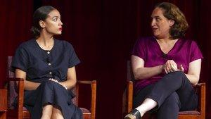 Colau y Ocasio-Cortez, en un acto en Nueva York en julio pasado.