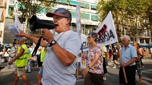 Manifestación de vecinos de la Barceloneta contra el incivismo