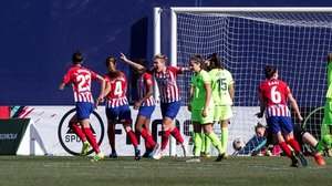 El Atlético de Madrid celebra el primer gol de Ludmila en la semifinal de la Copa de la Reina.