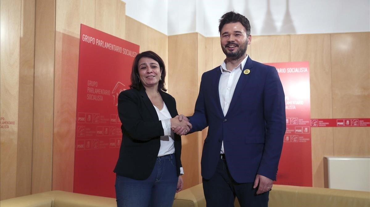 Gabriel Rufián (ERC) y Adriana Lastra (PSOE).