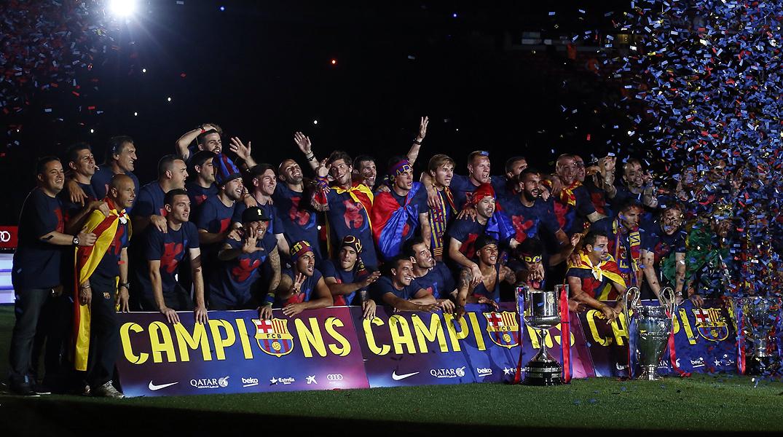 La festa del triplet al Camp Nou