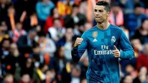 Cristiano Ronaldo celebra su primer gol ante el Valencia