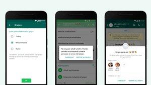 Aspecto de la nueva función de Whatsapp con la que el usuario controlará quién le añade a nuevos chats.