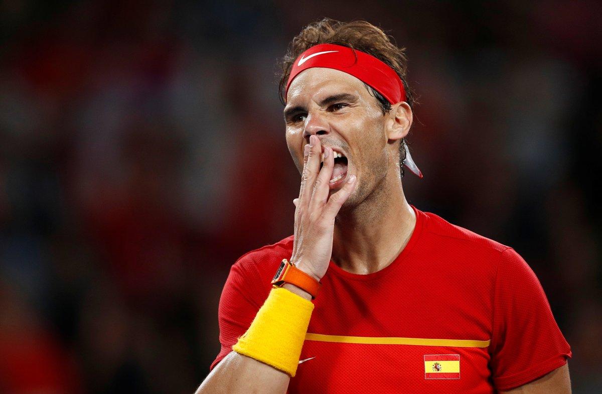 Tennis - ATP Cup - Ken Rosewall Arena, Sydney, Australia - January 12, 2020 Spain's Rafael Nadal reacts during his Final singles match against Serbia's Novak Djokovic REUTERS/Edgar Su