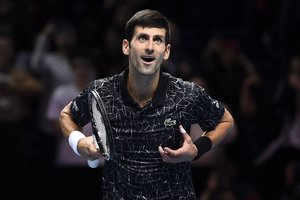-FOTODELDIA- Serbias Novak Djokovic celebrates after beating Croatias Marin Cilic in their Round Robin match at the ATP World Tour Finals tennis tournament at the O2 Arena in London, Britain, 16 November 2018. EFE/WILL OLIVER