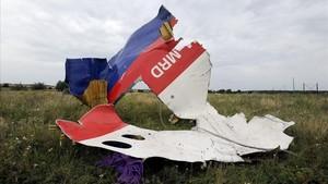 Restos del avión de Malaysia Airlines