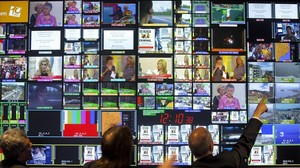 Centrode controlde la televisión digital terrestre en la Torre de Collserola, en Barcelona.